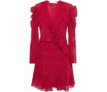 Lace-trimmed Ruffled Silk Crepe De Chine Mini Dress