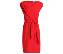 Wrap-effect Knotted Crepe Dress
