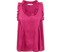 Ruffle-trimmed Gathered Twill Top
