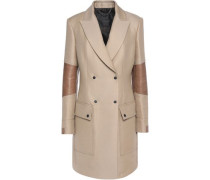 Andover leather-trimmed wool and cotton-blend coat