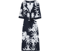 Harlow Printed Cotton-terry Coverup Navy