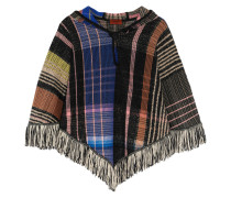 Fringed Bouclé And Crochet-knit Wool-blend Hooded Poncho Mehrfarbig
