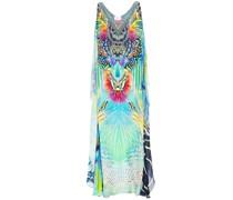 Reef Warrior Draped Embellished Printed Silk Crepe De Chine Maxi Dress
