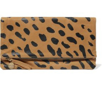 Fold-over leopard-print suede clutch