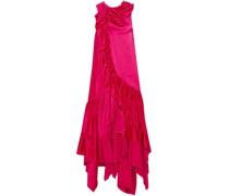 Asymmetric Ruffled Satin Dress