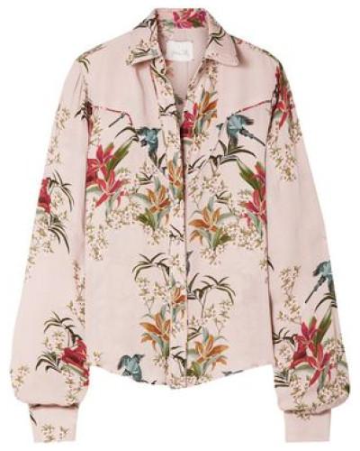 Azalea Printed Silk-georgette Shirt Pastel Pink