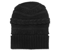 Fringed Cable-knit Wool And Cashmere-blend Beanie Schwarz