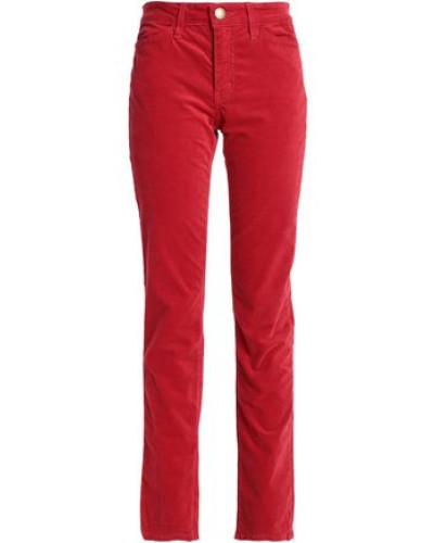 Velvet Straight-leg Pants Red  4