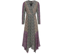Woman Louisa Wrap-effect Floral-print Silk-faille Midi Dress Black