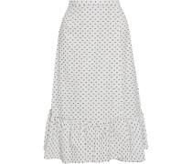 Shakira Ruffled Fil Coupé Cotton-poplin Midi Wrap Skirt
