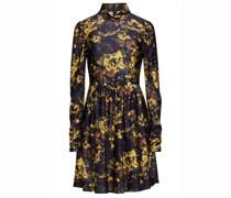 Gerafftes Minikleid aus Glänzendem Jersey mit Floralem Print