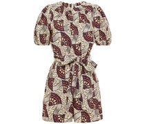 Open-back Belted Printed Cotton-poplin Playsuit
