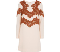 Lace-appliquéd Wool-blend Mini Dress Pfirsich