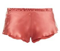 Pyjama-shorts aus Seidensatin mit Spitzenbesatz