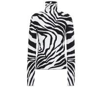 Woman Zebra-jacquard Turtleneck Sweater Animal Print
