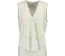 Tiered Pinstriped Wool-blend And Cotton-poplin Top Creme
