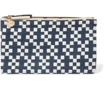 Printed linen-canvas clutch