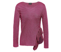 Ruffle-trimmed Metallic Ribbed-knit Top