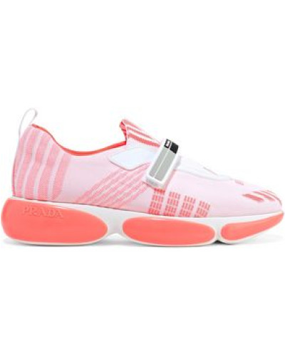 Woman Leather-trimmed Stretch-knit Sneakers Coral