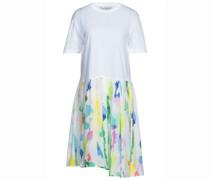 Kleid aus Bedrucktem Crêpe De Chine aus Seide mit Baumwoll-jersey-einsatz