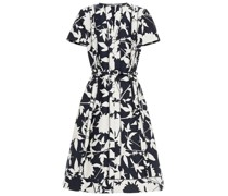 Belted Cotton-blend Jacquard Midi Dress