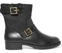 Naomi jacquard-paneled faux leather ankle boots