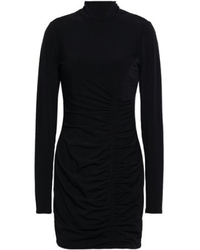 Woman Ruched Stretch-jersey Turtleneck Mini Dress Black