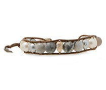 18-karat Gold-plated Sterling Silver, Leather And Multi-stone Wrap Bracelet