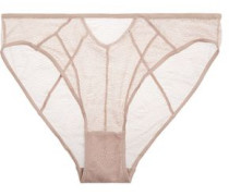 Skin stretch-lace briefs