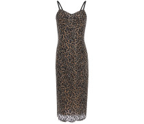 Metallic-trimmed Corded Lace Dress