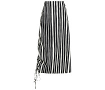 Asymmetric Gathered Striped Cotton-poplin Midi Skirt
