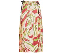 Leather-trimmed Printed Silk-satin Midi Wrap Skirt