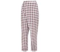 Wrap-effect Gingham Linen Pants