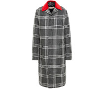 Shell-trimmed Checked Wool Down Coat