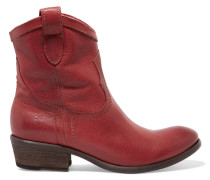 Carson Textured-leather Ankle Boots Ziegelrot
