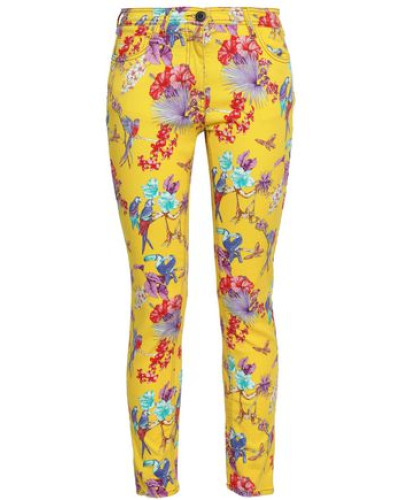 Floral-print Mid-rise Skinny Jeans Yellow