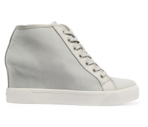 Cindy Rubber-trimmed Canvas Wedge Sneakers Graugrün