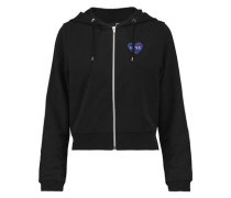 Embroidered stretch-cotton jersey hooded sweatshirt