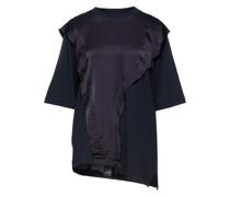 T-shirt aus Baumwoll-jersey mit Einsätzen aus Crêpe De Chine aus Seide