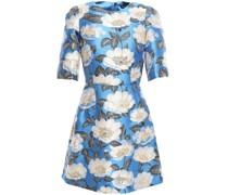 Flared Button-embellished Brocade Mini Dress