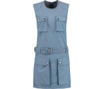 Cotton-chambray Mini Dress Blau