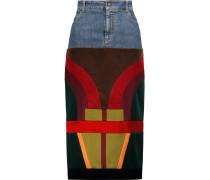 Patchwork Velvet And Satin-paneled Denim Midi Skirt Mehrfarbig