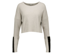 Cropped Pony Hair-trimmed Ribbed-knit Sweater Beige