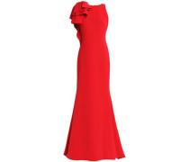 Asymmetric ruffled crepe gown