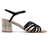 Berthe Sandalen aus Veloursleder und Wasserschlangenleder