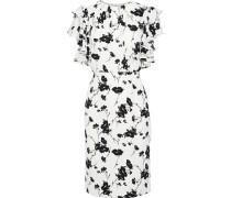 Ruffle-trimmed Floral-print Crepe De Chine Dress