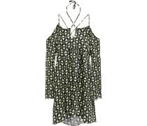 Open-back Printed Satin Mini Dress