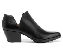 Dolores Cutout Textured-leather Ankle Boots Schwarz