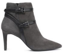 Fawn leather-trimmed suede ankle boots