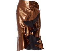 Constantina Ruffled Leather Wrap Skirt Bronze